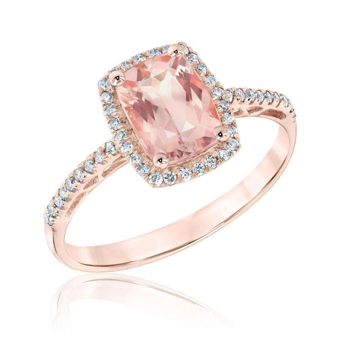 Anillo morganita oro rosa y diamantes